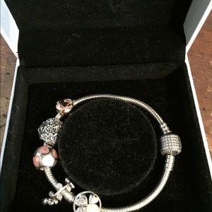 Pandora Jewelry - Pandora pavé bracelet + 5 Pandora charms 18 cm